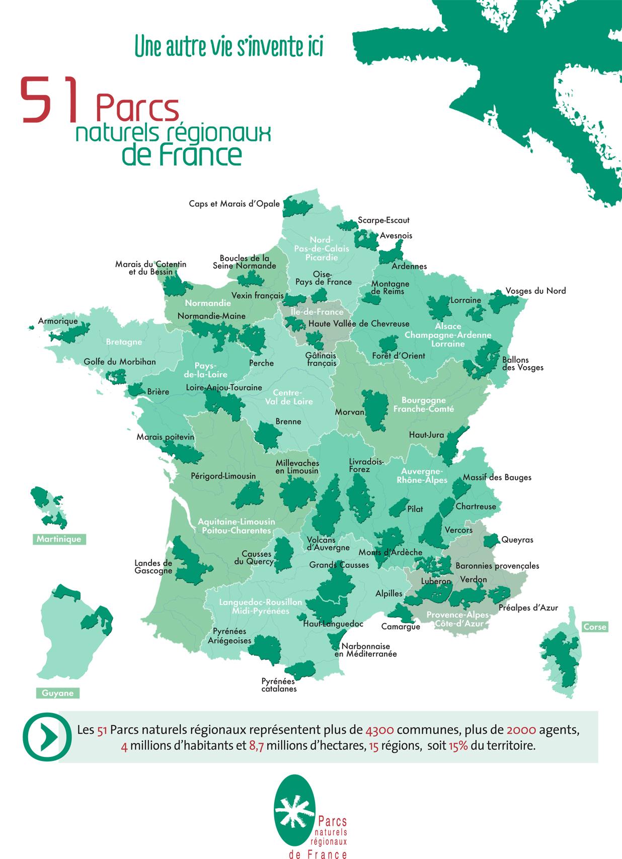 La carte des Parcs Naturels Régionaux (source : www.parcs-naturels-regionaux.fr/)